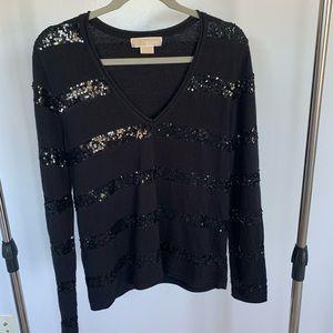 Michael Kors Black V-Neck Sweater w/ Sequins